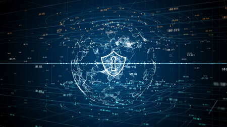 Shield Icon of Cyber Security Digital Data, Digital Data Network Protection, Global Network 5g High-Speed Internet Connection and Big Data Analysis Background.