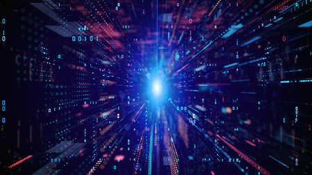 Digital Cyberspace with Particles and Digital Data Network Connections. High Speed Connection and Data Analysis Technology Digital Abstract Background Concept. Imagens