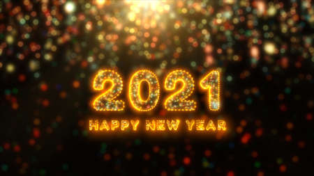 Beautiful Fireworks and bokeh of 2021 Happy New Year greeting text with particles and sparks. Holiday and celebration background concept. Imagens