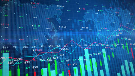 Digital Stock exchange market chart or forex trading graph and candlestick chart suitable for financial investment. Financial Investment trends for business background concept.