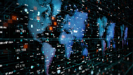 Digital cyberspace and digital data network connections. Global Network transfer digital data 5g high speed internet, Future technology digital data connections background Imagens