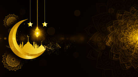 Gold Color Eid Al Adha Mubarak and Traditional Lanterns Ramadan Islamic with Particle and Lighting Background