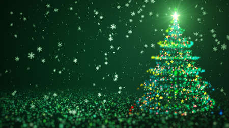 Green color Christmas tree with shining light, falling snowflakes and stars. Christmas or New Year background Concept