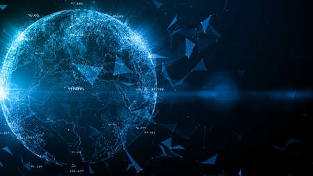 Technology Network Data Connection, Digital Network and Cyber Security Concept, Global network 5g high-speed connection background