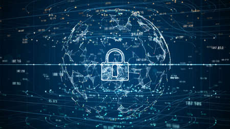 Lock Icon of Cyber Security Digital Data, Digital Data Network Protection, Global Network 5g High-Speed Internet Connection and Big Data Analysis Background.