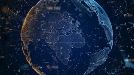 Technology Network BIG Data Connection, Digital Network and Cyber Security Concept, Global Network 5g High-Speed Connection Background