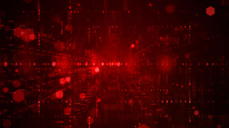 Digital cyberspace with particles and Digital data network connections concept on red background