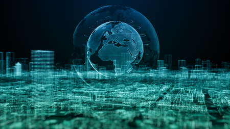 Smart city, Digital cyberspace with particles and Digital data Network connections, Global 5g high speed internet connection and Data analysis process big data background concept.