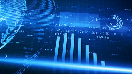 Digital financial chart bars, Financial investment trends around the world, Big data and stock market, Business and finance background Imagens