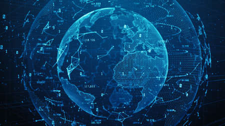 Technology Network Data Connection, Cyber Security digital data, Global 5g high speed internet connection and Big data analysis process background