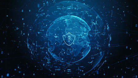 Shield Icon of Cyber Security Digital Data, Digital Data Network Protection, Global Network 5g High-Speed Internet Connection and Big Data Analysis Background