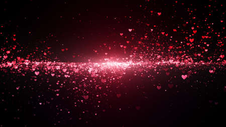 Valentine's day abstract background, flying pink hearts with lettering and particles valentines concept, 3d rendering Фото со стока