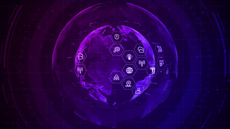 Technology Network Data Connection, Cyber Security digital data, Global 5g high speed internet connection and Big data analysis process background. 3d rendering