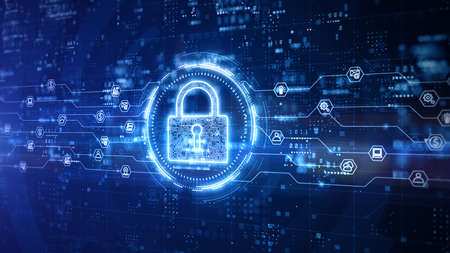 Padlock of Cyber Security Digital Data, Technology Global Network Digital Data Protection, Future Background Concept. 3D Rendering Фото со стока