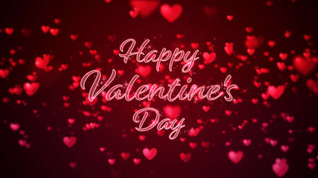 Valentine's day abstract background, flying red hearts with lettering and particles valentines concept, 3d rendering