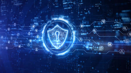Shield Icon of Cyber Security Digital Data, Technology Global Network Digital Data Protection, Future Abstract Background Concept. 3D Rendering