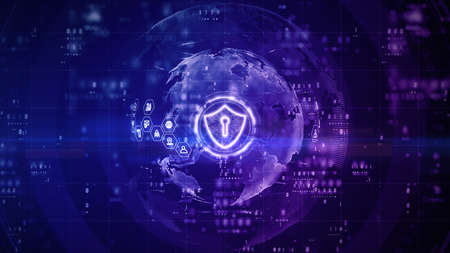Shield Icon of Cyber Security Digital Data, Digital Data Network Protection, Global Network 5g High-Speed Internet Connection and Big Data Analysis Future Background Concept. 3d rendering Фото со стока