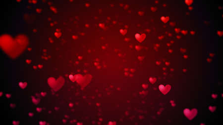 Valentine's day abstract background, flying red hearts and particles valentines background concept. 3d rendering