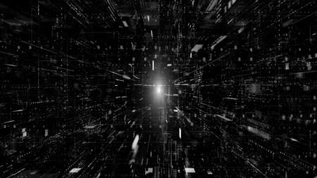 Digital cyberspace and digital data network connections concept. Transfer digital data hi-speed internet, Future technology digital abstract background concept. Monochrome 3d rendering