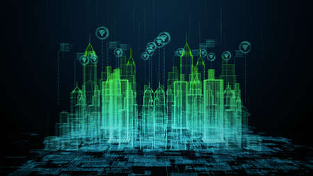 Smart City with wi fi connection conceptual, Technology 5g communication concept. Futuristic data network connected. Internet of things background concept. 3d rendering