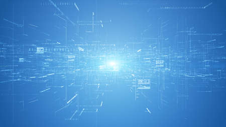 Digital cyberspace and digital data network connections concept. Transfer digital data hi-speed internet, Future technology digital abstract background concept. 3d rendering