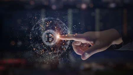 Hands touch bitcoin blockchain cryptocurrency digital encryption, Digital money exchange, Technology global network connections background concept. Фото со стока