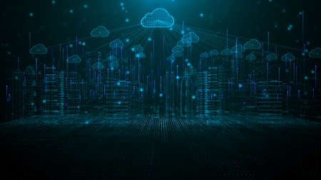 Smart city of cloud computing using artificial intelligence. Futuristic technology internet and big data 5g connection. Cybersecurity digital data background Foto de archivo