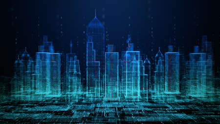 Smart city with technology network connecting. Internet of things and social media connection. Technology 5G and digital data connection. Future background concept. 3d rendering Фото со стока