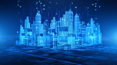 Smart City with technology 5g communication. Futuristic digital data network connected. Internet of things background concept Фото со стока
