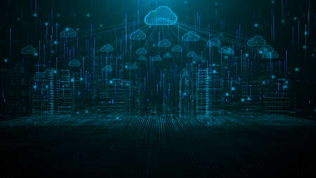 Smart city of cloud computing using artificial intelligence. Futuristic technology internet and big data 5g connection. Cybersecurity digital data background