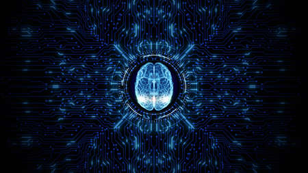 Artificial intelligence concept. Brain over a circuit board. HUD future technology digital background