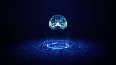 Artificial intelligence concept. Brain over circuit board. HUD and Future technology digital background