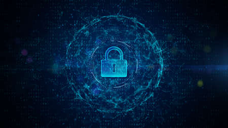 Padlock of Cyber Security Digital Data, Digital Data Network Protection, Global Network Internet Connection Future Background Concept. Фото со стока