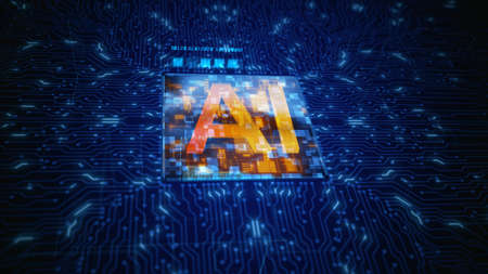 Circuit Board CPU Processor Microchip Starting Artificial Intelligence AI. Future Technology Concept Visualization. Big Data Transmission Connection and Cloud Computing Abstract Background.