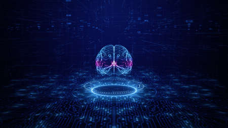 Artificial intelligence concept. Brain over a circuit board. HUD and technology connection data analysis, Future technology digital background Фото со стока