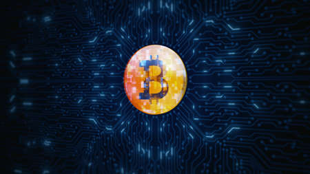 Digital Cryptocurrency Bitcoin Symbol on Circuit Board Animation. Future Digital Money Background