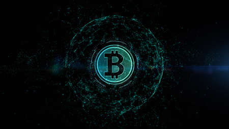 Bitcoin cryptocurrency, Digital money exchange, Blockchain technology connections background concept.