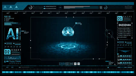 Artificial intelligence concept. Brain over a circuit board and scanning. Graphic user interface head up display. Future technology digital screen background. 3d rendering Standard-Bild