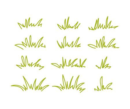 Set of green grass tufts, clip art, transparent background.