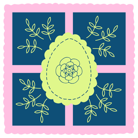 Vector element for design, easter eggs and flowers, yellow-blue drawing on pink-blue background