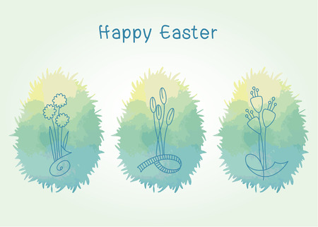 Vector element for design. Easter eggs in green grass with flowers inside Çizim