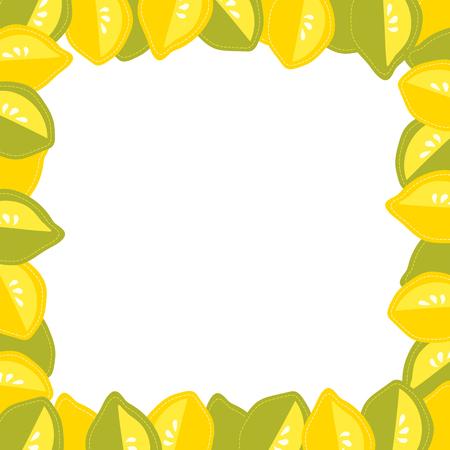 Cartoon citrus frame, fresh design, lemon and lime