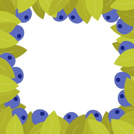 Cartoon blueberry square frame, berries and leaves, fresh design