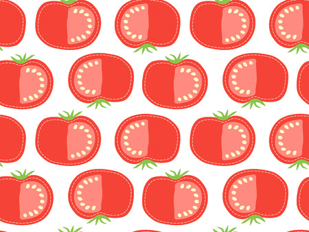 Red tomato seamless pattern on transparent background, sliced cartoon vegetable