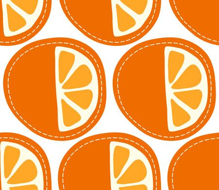 Orange seamless pattern on transparent background, sliced cartoon citrus fruit.