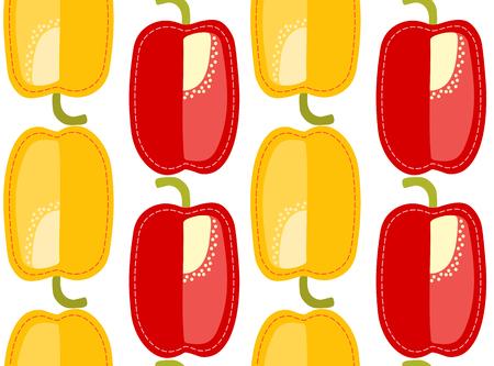 Bulgarian pepper seamless pattern on transparent background, sliced cartoon vegetable