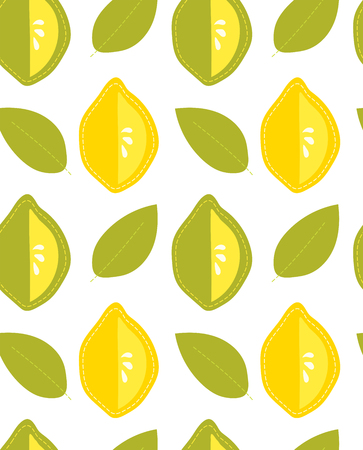 Citrus fruit seamless pattern, cartoon lemon and lime Vector illustration.