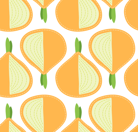 Onion seamless pattern on transparent background, sliced cartoon vegetable