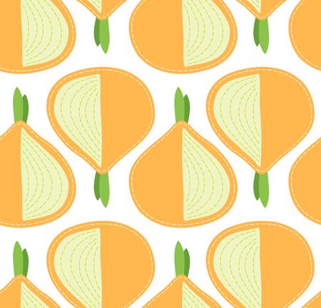 Onion seamless pattern on transparent background, sliced cartoon vegetable