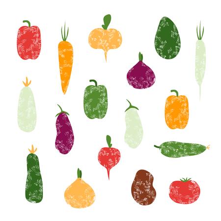 Set of grunge vegetables, isolated on transparent background, zucchini, courgette, eggplant, potato, tomato, pepper, cucumber, radish, carrot, onion, turnip Vettoriali